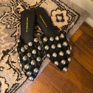 Shoes - Studded Black Slides